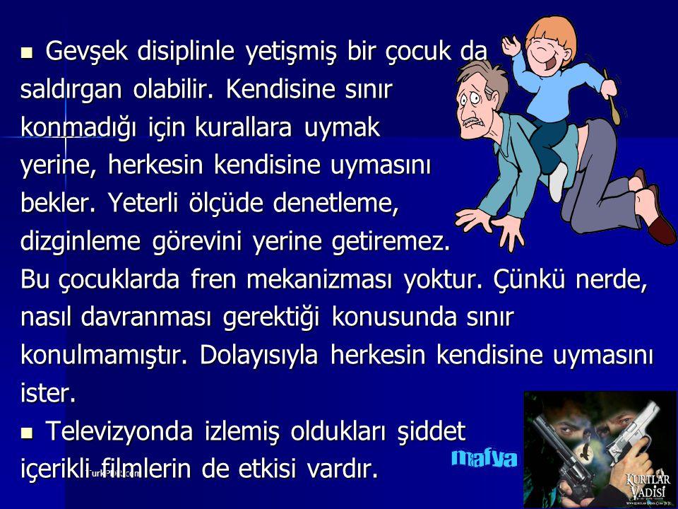 TurkPDR.com Gevşek disiplinle yetişmiş bir çocuk da Gevşek disiplinle yetişmiş bir çocuk da saldırgan olabilir. Kendisine sınır konmadığı için kuralla