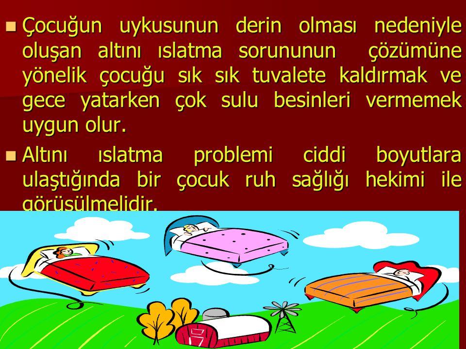 TurkPDR.com Çocuğun uykusunun derin olması nedeniyle oluşan altını ıslatma sorununun çözümüne yönelik çocuğu sık sık tuvalete kaldırmak ve gece yatark