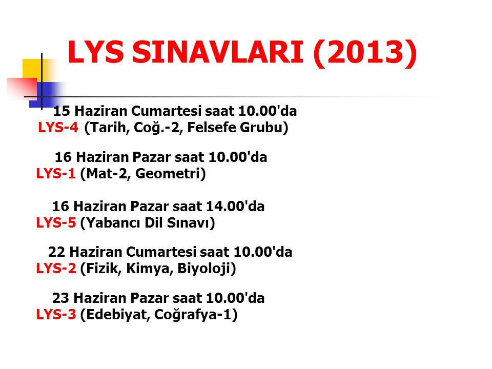 LYS SINAVLARI (2013) 15 Haziran Cumartesi saat 10.00 da LYS-4 (Tarih, Coğ.-2, Felsefe Grubu) 16 Haziran Pazar saat 10.00 da LYS-1 (Mat-2, Geometri) 16 Haziran Pazar saat 14.00 da LYS-5 (Yabancı Dil Sınavı) 22 Haziran Cumartesi saat 10.00 da LYS-2 (Fizik, Kimya, Biyoloji) 23 Haziran Pazar saat 10.00 da LYS-3 (Edebiyat, Coğrafya-1)