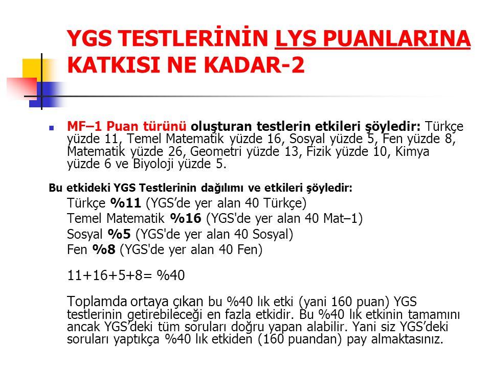 YGS TESTLERİNİN LYS PUANLARINA KATKISI NE KADAR-2 MF–1 Puan türünü oluşturan testlerin etkileri şöyledir: Türkçe yüzde 11, Temel Matematik yüzde 16, S