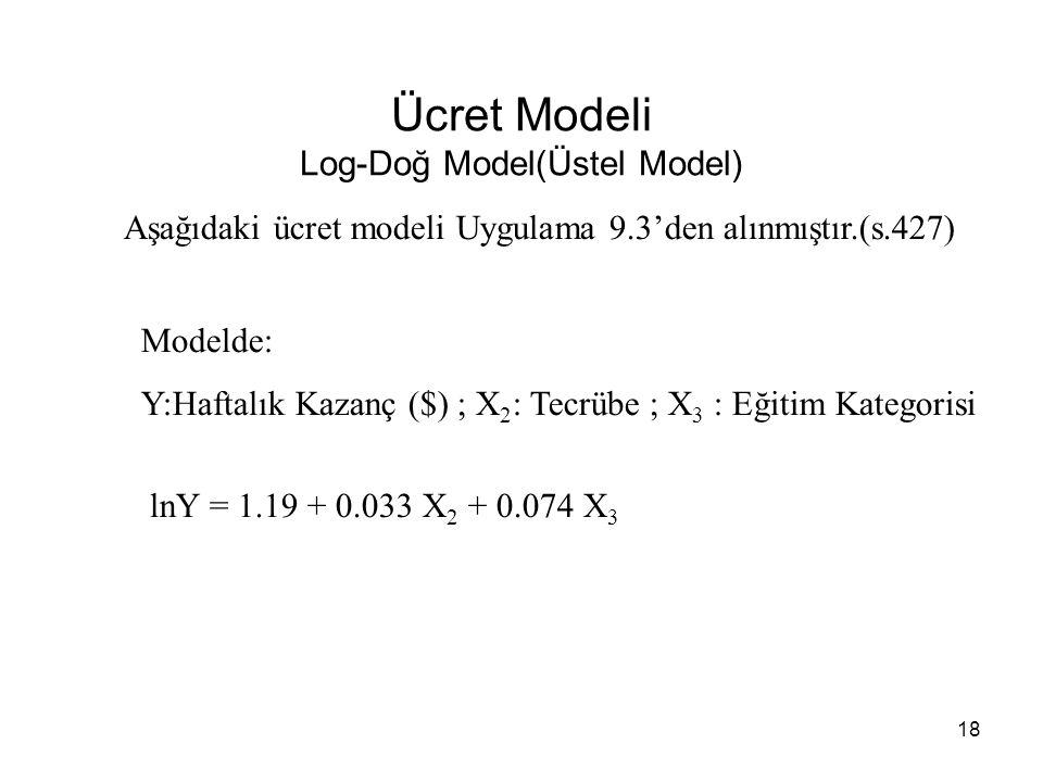 Ücret Modeli Log-Doğ Model(Üstel Model) lnY = 1.19 + 0.033 X 2 + 0.074 X 3 Aşağıdaki ücret modeli Uygulama 9.3'den alınmıştır.(s.427) Modelde: Y:Haftalık Kazanç ($) ; X 2 : Tecrübe ; X 3 : Eğitim Kategorisi 18