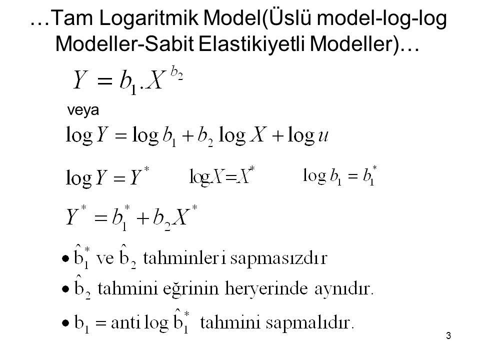 …Yarı-Logaritmik Fonksiyon… Log-Doğ Model(Üstel Model) lnY = b 1 +b 2 X+ u = ( b 2 Y ) = b 2 X 14