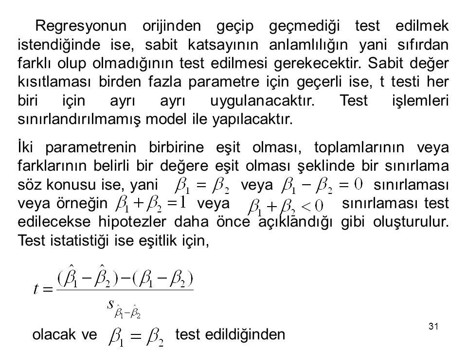 Regresyonun orijinden geçip geçmediği test edilmek istendiğinde ise, sabit katsayının anlamlılığın yani sıfırdan farklı olup olmadığının test edilmesi gerekecektir.