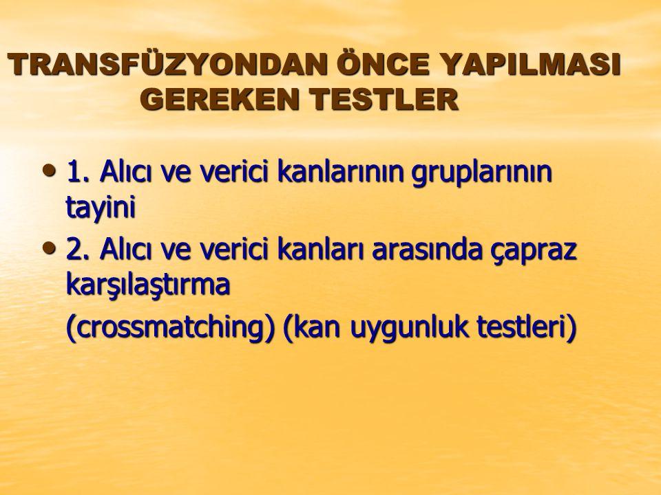 TRANSFÜZYONDAN ÖNCE YAPILMASI GEREKEN TESTLER 1.Alıcı ve verici kanlarının gruplarının tayini 1.