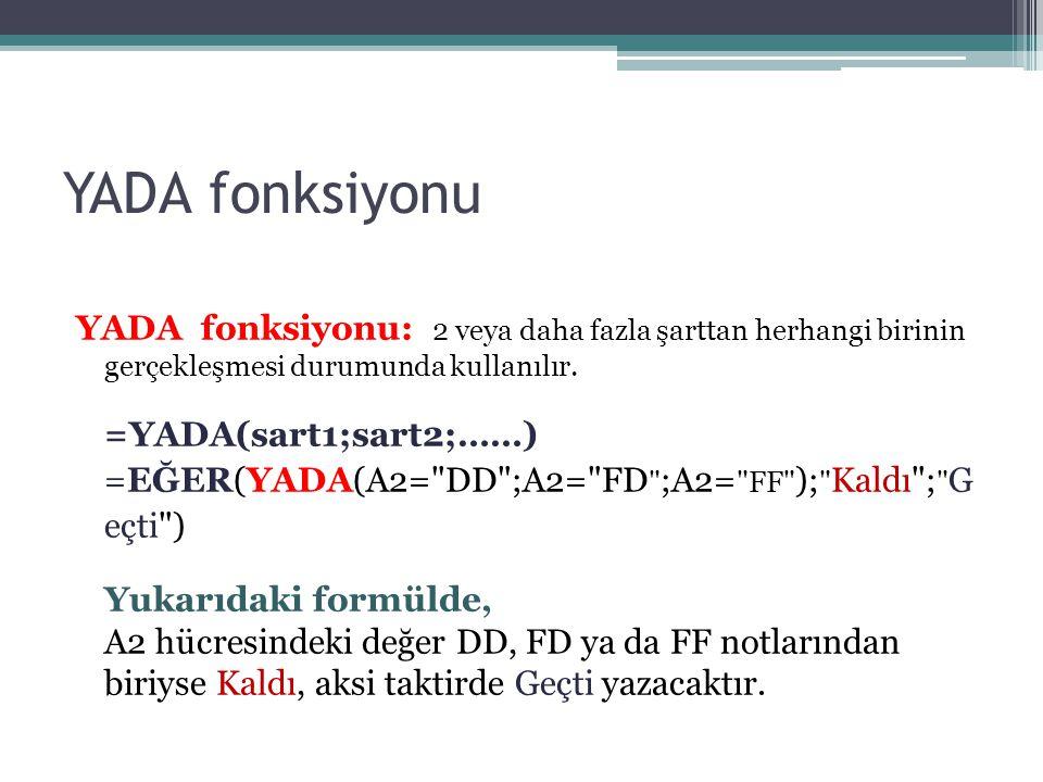 YADA fonksiyonu YADA fonksiyonu: 2 veya daha fazla şarttan herhangi birinin gerçekleşmesi durumunda kullanılır. =YADA(sart1;sart2;……) =EĞER(YADA(A2=