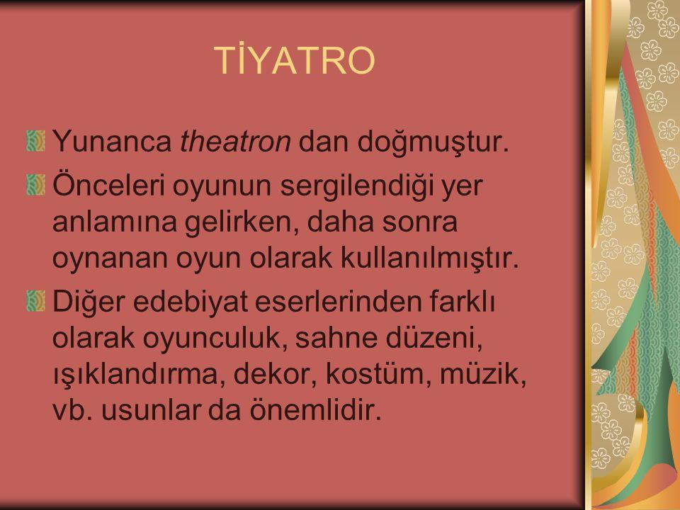 TİYATRO Yunanca theatron dan doğmuştur.