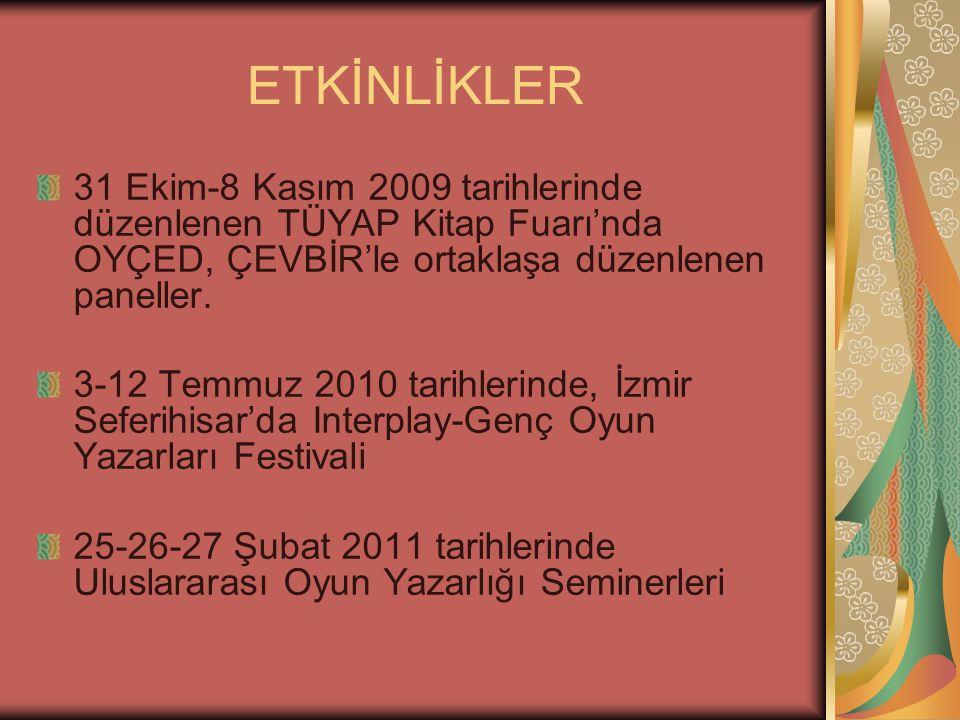 ETKİNLİKLER 31 Ekim-8 Kasım 2009 tarihlerinde düzenlenen TÜYAP Kitap Fuarı'nda OYÇED, ÇEVBİR'le ortaklaşa düzenlenen paneller.