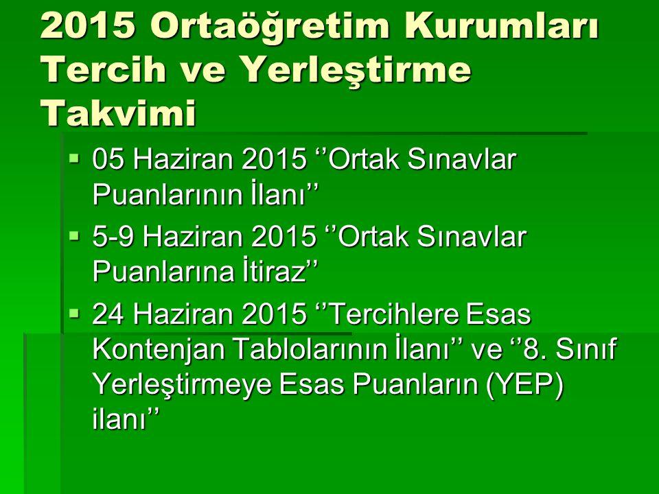 2015 Ortaöğretim Kurumları Tercih ve Yerleştirme Takvimi  05 Haziran 2015 ''Ortak Sınavlar Puanlarının İlanı''  5-9 Haziran 2015 ''Ortak Sınavlar Pu