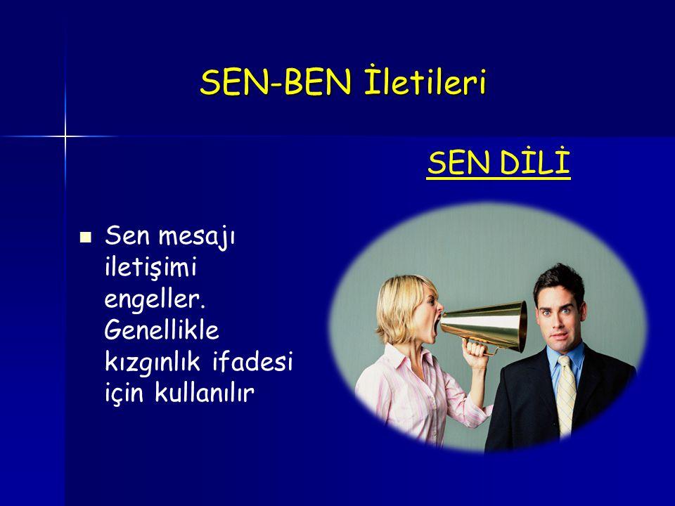 SEN-BEN İletileri SEN-BEN İletileri Sen mesajı iletişimi engeller. Genellikle kızgınlık ifadesi için kullanılır SEN DİLİ
