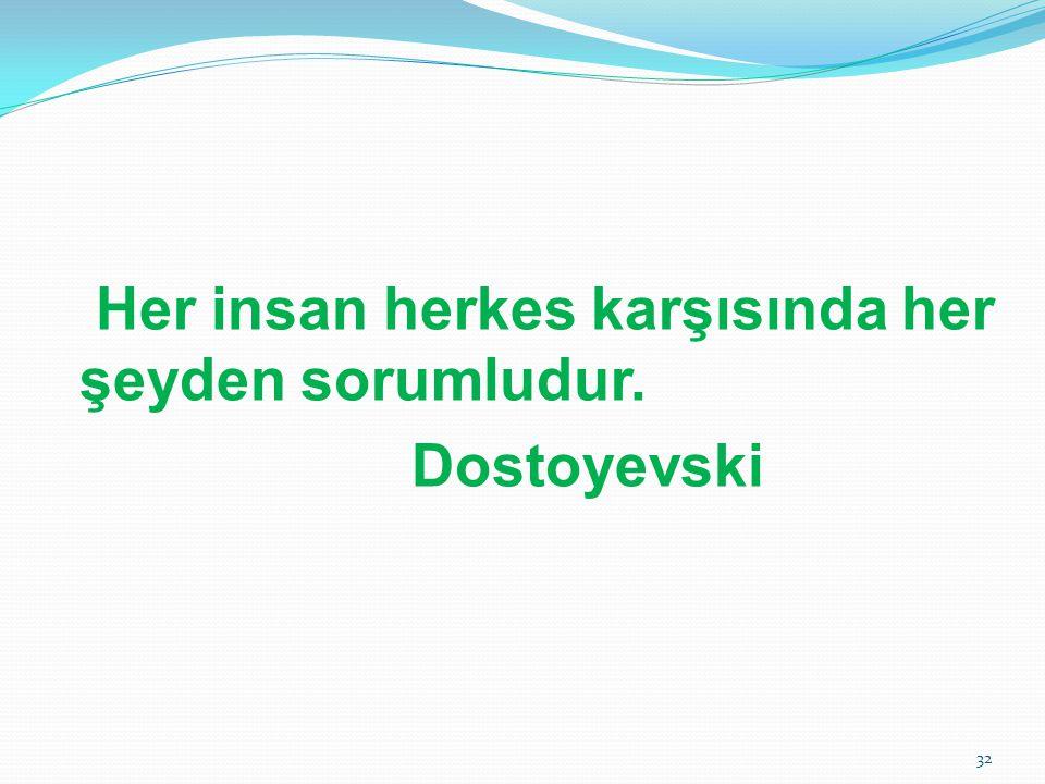Her insan herkes karşısında her şeyden sorumludur. Dostoyevski 32