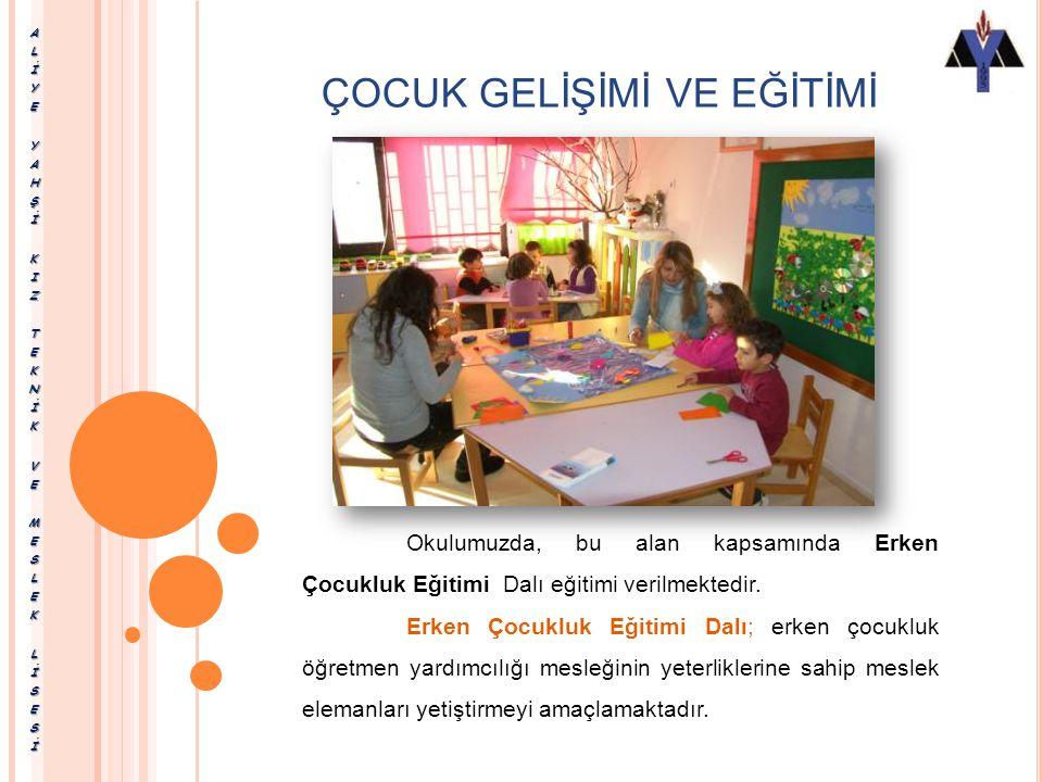 ÇOCUK GELİŞİMİ VE EĞİTİMİ Çocuk Gelişimi ve Eğitimi Alanında, Erken Çocukluk Eğitimi Özel Eğitim dalları yer almaktadır.