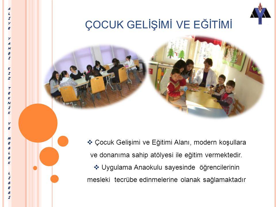 ÇOCUK GELİŞİMİ VE EĞİTİMİ Okulumuzda, bu alan kapsamında Erken Çocukluk Eğitimi Dalı eğitimi verilmektedir. Erken Çocukluk Eğitimi Dalı; erken çocuklu
