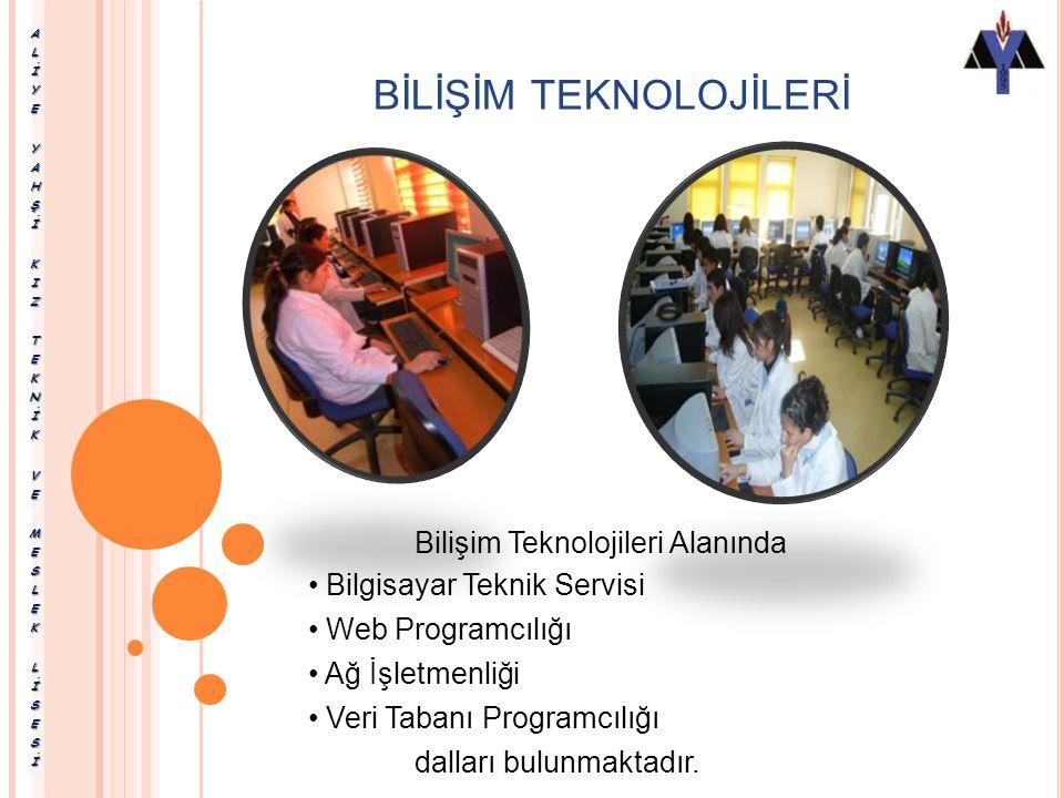 BİLİŞİM TEKNOLOJİLERİ Bilişim Teknolojileri Alanında Bilgisayar Teknik Servisi Web Programcılığı Ağ İşletmenliği Veri Tabanı Programcılığı dalları bulunmaktadır.