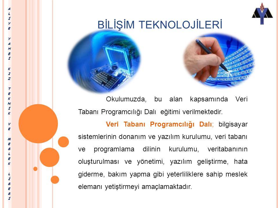 BİLİŞİM TEKNOLOJİLERİ Bilişim Teknolojileri Alanında Bilgisayar Teknik Servisi Web Programcılığı Ağ İşletmenliği Veri Tabanı Programcılığı dalları bul