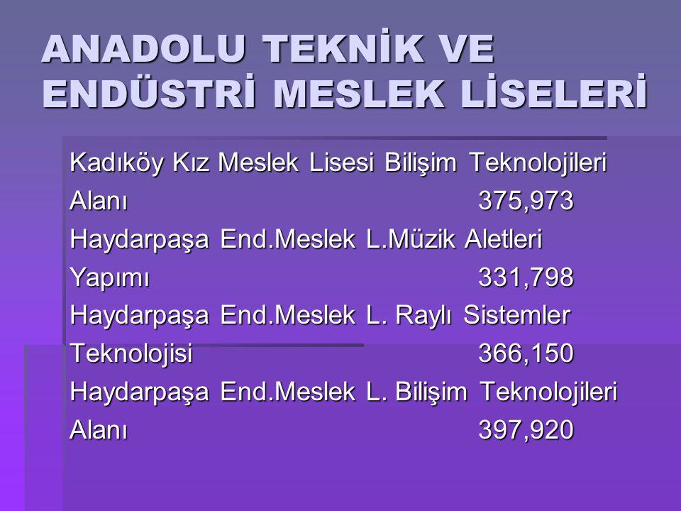 ANADOLU TEKNİK VE ENDÜSTRİ MESLEK LİSELERİ Kadıköy Kız Meslek Lisesi Bilişim Teknolojileri Alanı375,973 Haydarpaşa End.Meslek L.Müzik Aletleri Yapımı3