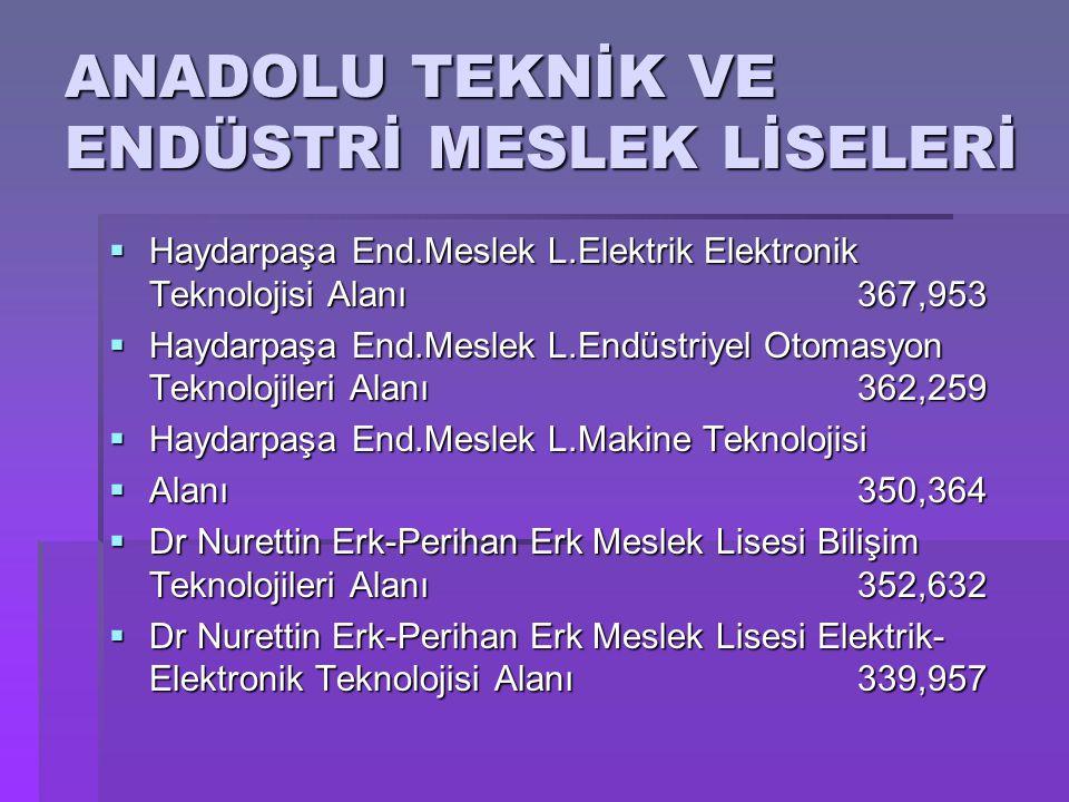 ANADOLU TEKNİK VE ENDÜSTRİ MESLEK LİSELERİ  Haydarpaşa End.Meslek L.Elektrik Elektronik Teknolojisi Alanı367,953  Haydarpaşa End.Meslek L.Endüstriye
