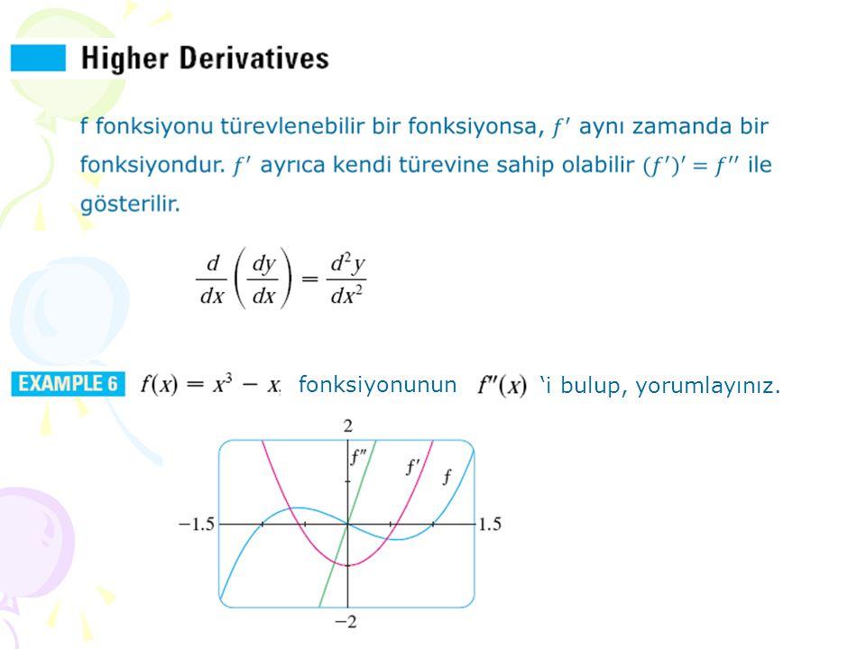 Değişim hızının değişim hızı olarak yorumlanabilecek ikinci türevin en bilindik örneği ivmedir (acceleration).