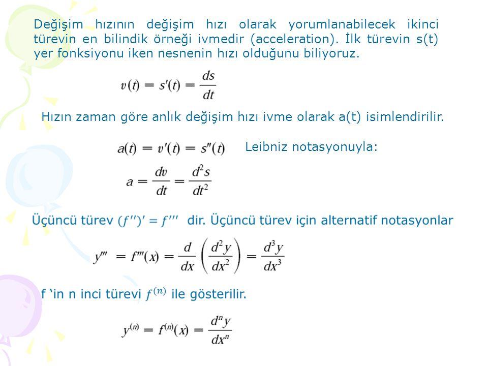 Ayrıca bir nesnenin pozisyon fonksiyonundan hareketle üçüncü türevi fiziksel olarak yorumlanabilir.