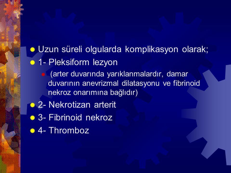  Uzun süreli olgularda komplikasyon olarak;  1- Pleksiform lezyon  (arter duvarında yarıklanmalardır, damar duvarının anevrizmal dilatasyonu ve fibrinoid nekroz onarımına bağlıdır)  2- Nekrotizan arterit  3- Fibrinoid nekroz  4- Thromboz
