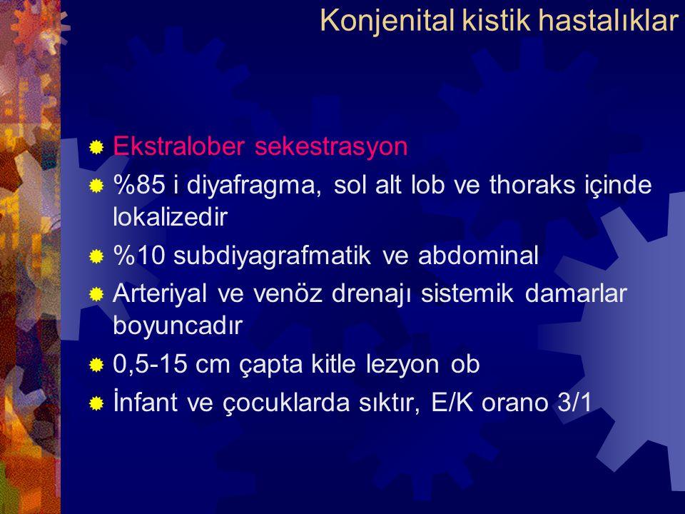  Ekstralober sekestrasyon  %85 i diyafragma, sol alt lob ve thoraks içinde lokalizedir  %10 subdiyagrafmatik ve abdominal  Arteriyal ve venöz drenajı sistemik damarlar boyuncadır  0,5-15 cm çapta kitle lezyon ob  İnfant ve çocuklarda sıktır, E/K orano 3/1 Konjenital kistik hastalıklar