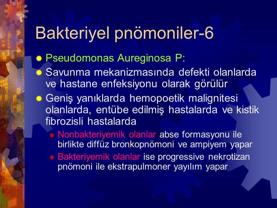 Bakteriyel pnömoniler-6  Pseudomonas Aureginosa P:  Savunma mekanizmasında defekti olanlarda ve hastane enfeksiyonu olarak görülür  Geniş yanıklarda hemopoetik malignitesi olanlarda, entübe edilmiş hastalarda ve kistik fibrozisli hastalarda  Nonbakteriyemik olanlar abse formasyonu ile birlikte diffüz bronkopnömoni ve ampiyem yapar  Bakteriyemik olanlar ise progressive nekrotizan pnömoni ile ekstrapulmoner yayılım yapar