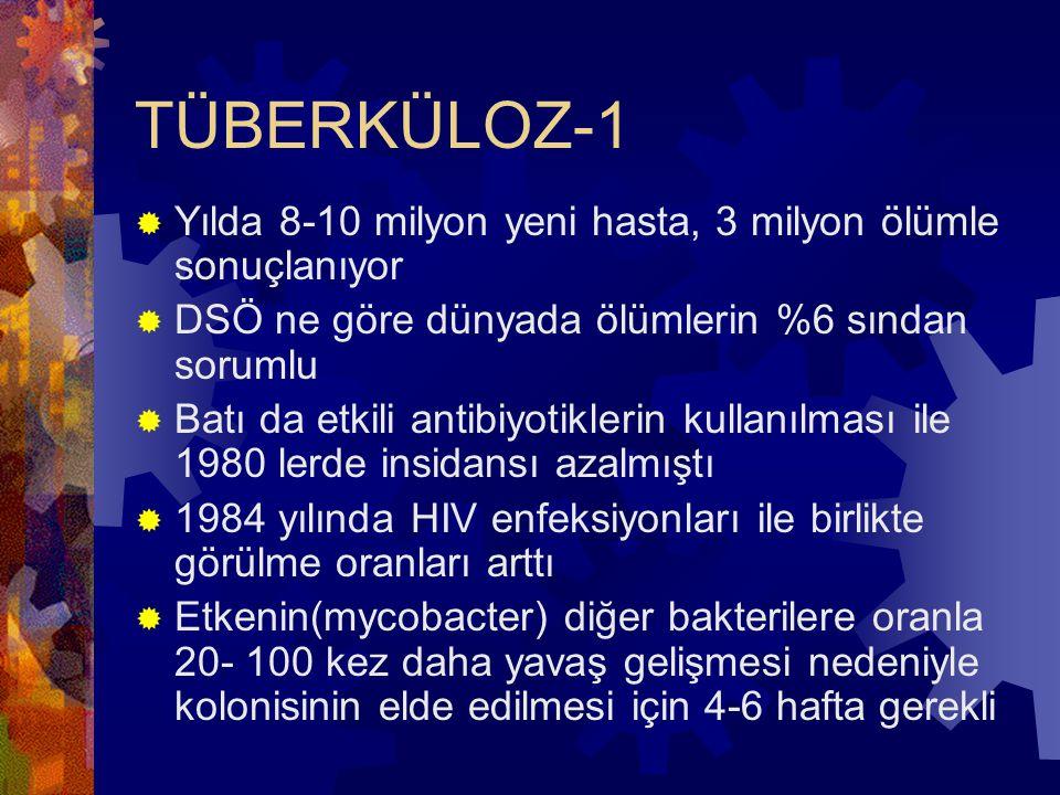 TÜBERKÜLOZ-1  Yılda 8-10 milyon yeni hasta, 3 milyon ölümle sonuçlanıyor  DSÖ ne göre dünyada ölümlerin %6 sından sorumlu  Batı da etkili antibiyotiklerin kullanılması ile 1980 lerde insidansı azalmıştı  1984 yılında HIV enfeksiyonları ile birlikte görülme oranları arttı  Etkenin(mycobacter) diğer bakterilere oranla 20- 100 kez daha yavaş gelişmesi nedeniyle kolonisinin elde edilmesi için 4-6 hafta gerekli