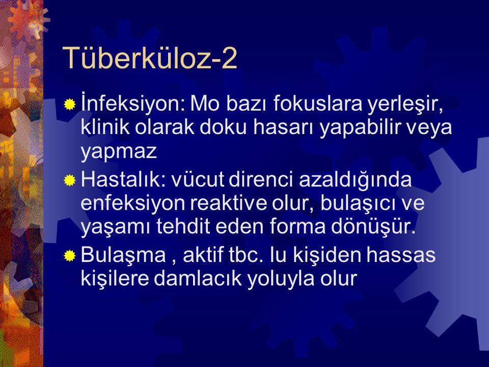 Tüberküloz-2  İnfeksiyon: Mo bazı fokuslara yerleşir, klinik olarak doku hasarı yapabilir veya yapmaz  Hastalık: vücut direnci azaldığında enfeksiyon reaktive olur, bulaşıcı ve yaşamı tehdit eden forma dönüşür.