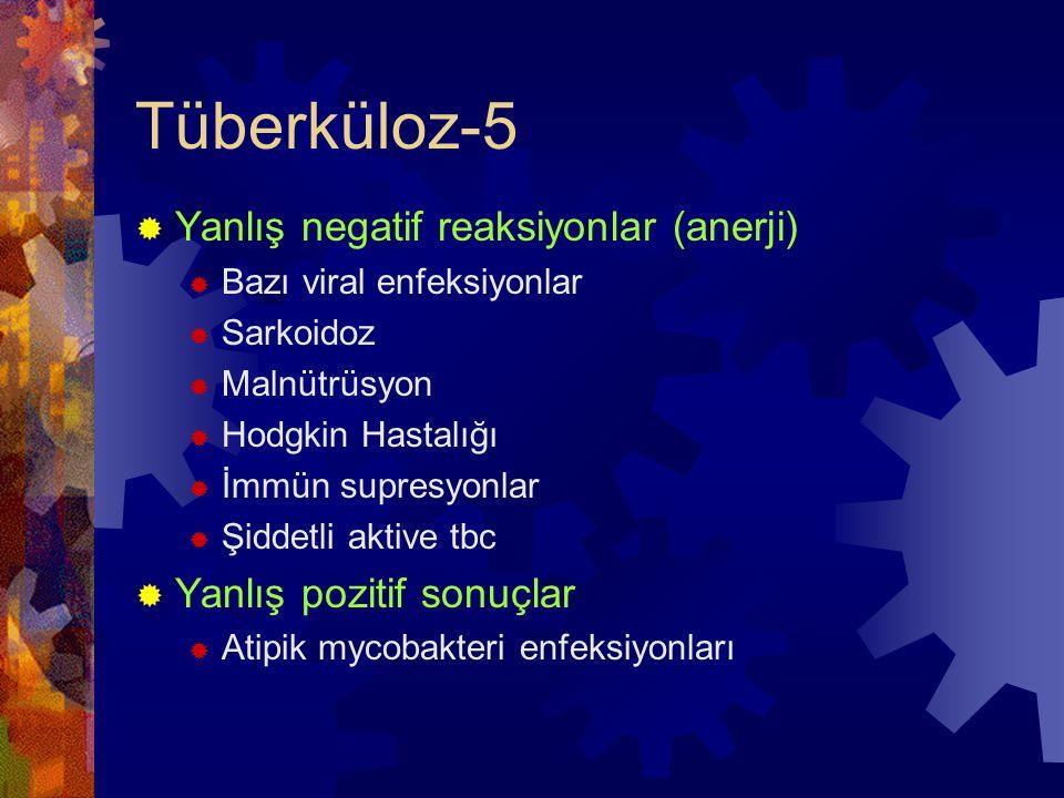 Tüberküloz-5  Yanlış negatif reaksiyonlar (anerji)  Bazı viral enfeksiyonlar  Sarkoidoz  Malnütrüsyon  Hodgkin Hastalığı  İmmün supresyonlar  Şiddetli aktive tbc  Yanlış pozitif sonuçlar  Atipik mycobakteri enfeksiyonları