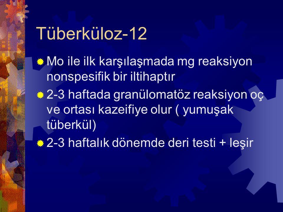 Tüberküloz-12  Mo ile ilk karşılaşmada mg reaksiyon nonspesifik bir iltihaptır  2-3 haftada granülomatöz reaksiyon oç ve ortası kazeifiye olur ( yumuşak tüberkül)  2-3 haftalık dönemde deri testi + leşir