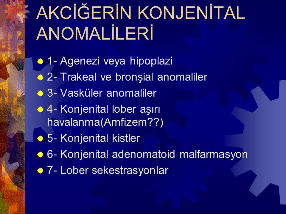 AKCİĞERİN KONJENİTAL ANOMALİLERİ  1- Agenezi veya hipoplazi  2- Trakeal ve bronşial anomaliler  3- Vasküler anomaliler  4- Konjenital lober aşırı havalanma(Amfizem??)  5- Konjenital kistler  6- Konjenital adenomatoid malfarmasyon  7- Lober sekestrasyonlar