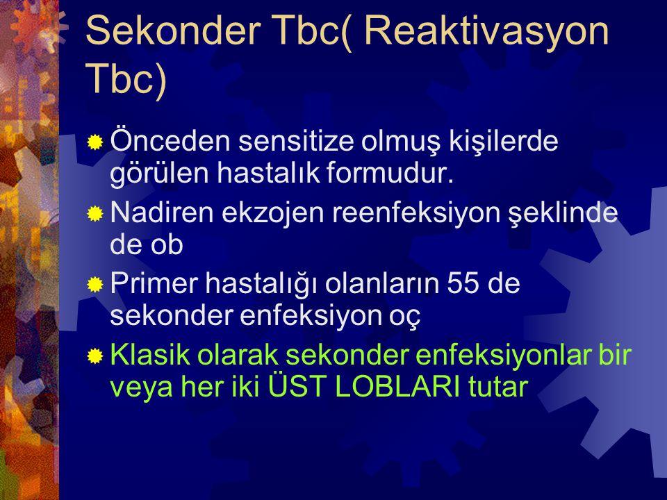 Sekonder Tbc( Reaktivasyon Tbc)  Önceden sensitize olmuş kişilerde görülen hastalık formudur.