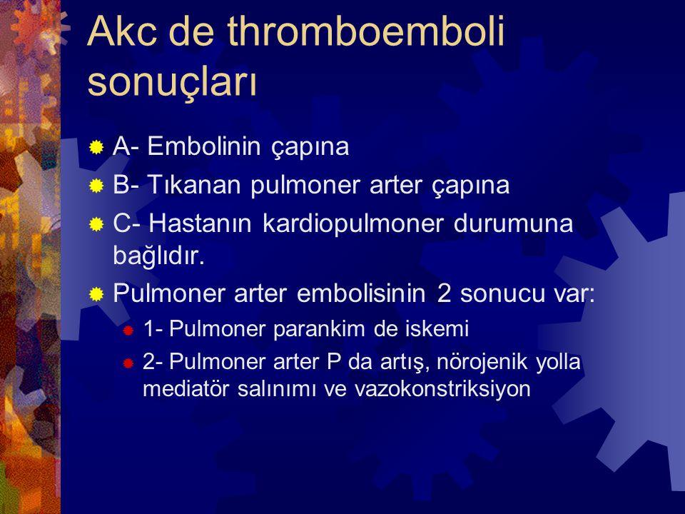 Akc de thromboemboli sonuçları  A- Embolinin çapına  B- Tıkanan pulmoner arter çapına  C- Hastanın kardiopulmoner durumuna bağlıdır.
