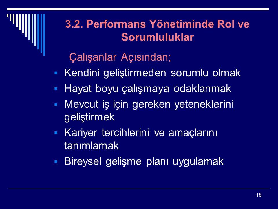 16 3.2. Performans Yönetiminde Rol ve Sorumluluklar Çalışanlar Açısından;  Kendini geliştirmeden sorumlu olmak  Hayat boyu çalışmaya odaklanmak  Me