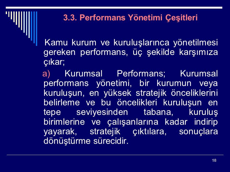 18 3.3. Performans Yönetimi Çeşitleri Kamu kurum ve kuruluşlarınca yönetilmesi gereken performans, üç şekilde karşımıza çıkar; a) Kurumsal Performans;