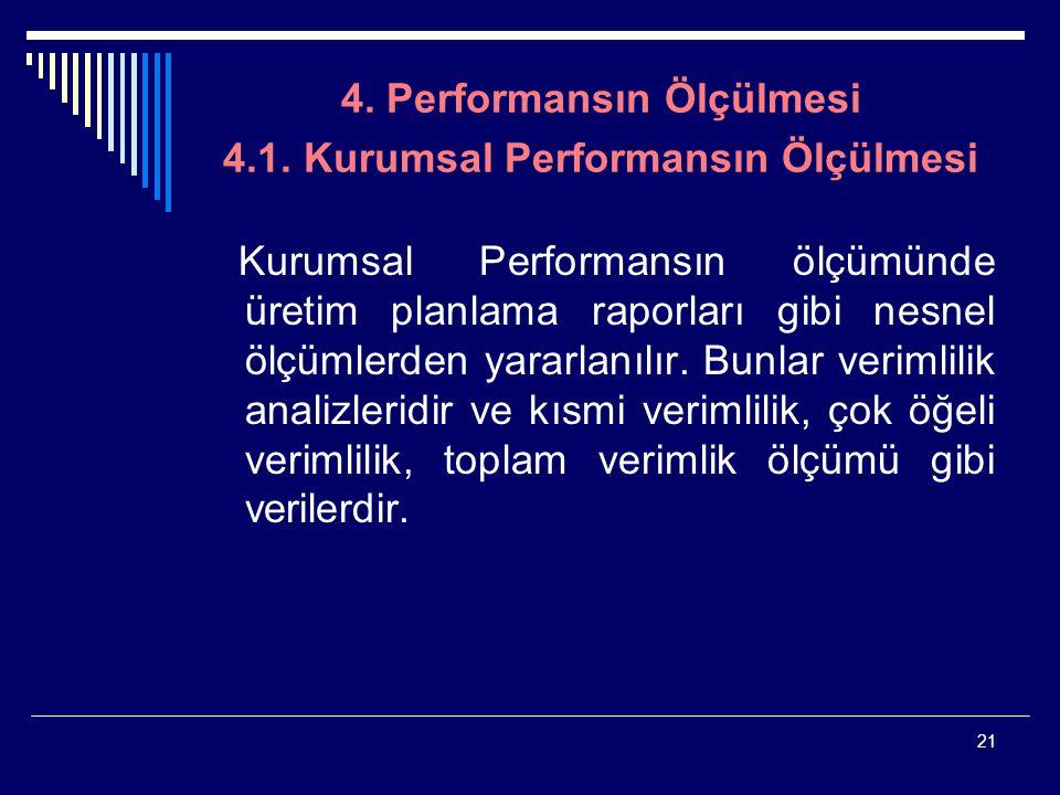 21 4. Performansın Ölçülmesi 4.1. Kurumsal Performansın Ölçülmesi Kurumsal Performansın ölçümünde üretim planlama raporları gibi nesnel ölçümlerden ya