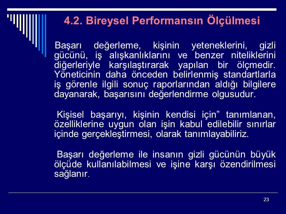 23 4.2. Bireysel Performansın Ölçülmesi Başarı değerleme, kişinin yeteneklerini, gizli gücünü, iş alışkanlıklarını ve benzer niteliklerini diğerleriyl