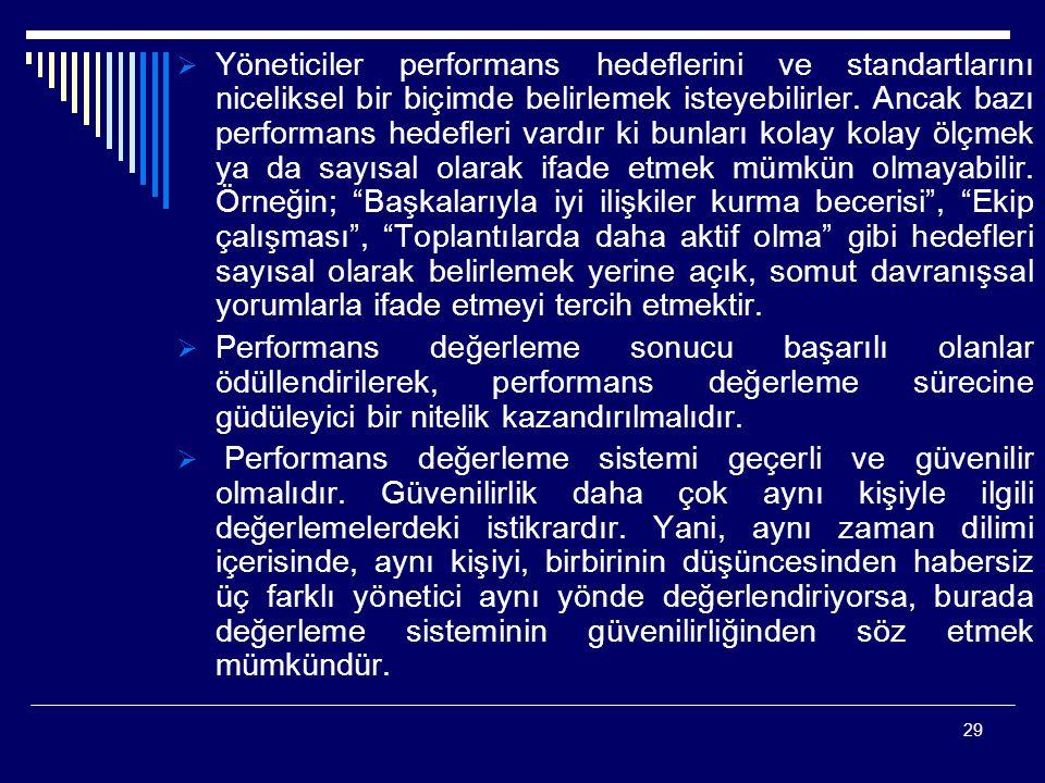 29  Yöneticiler performans hedeflerini ve standartlarını niceliksel bir biçimde belirlemek isteyebilirler. Ancak bazı performans hedefleri vardır ki