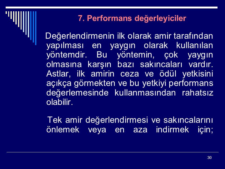 30 7. Performans değerleyiciler Değerlendirmenin ilk olarak amir tarafından yapılması en yaygın olarak kullanılan yöntemdir. Bu yöntemin, çok yaygın o