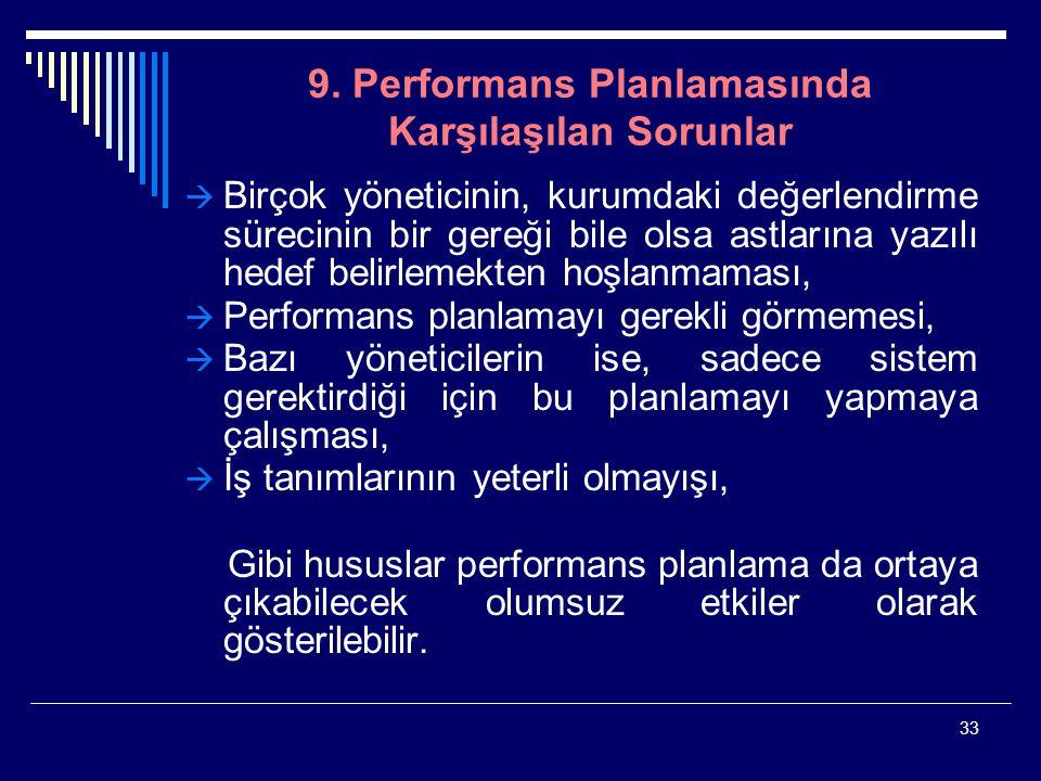 33 9. Performans Planlamasında Karşılaşılan Sorunlar  Birçok yöneticinin, kurumdaki değerlendirme sürecinin bir gereği bile olsa astlarına yazılı hed