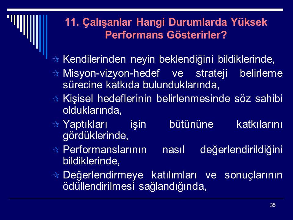 35 11. Çalışanlar Hangi Durumlarda Yüksek Performans Gösterirler?  Kendilerinden neyin beklendiğini bildiklerinde,  Misyon-vizyon-hedef ve strateji