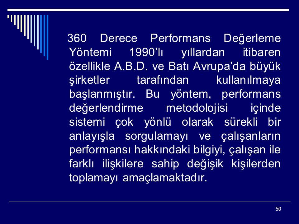 50 360 Derece Performans Değerleme Yöntemi 1990'lı yıllardan itibaren özellikle A.B.D. ve Batı Avrupa'da büyük şirketler tarafından kullanılmaya başla