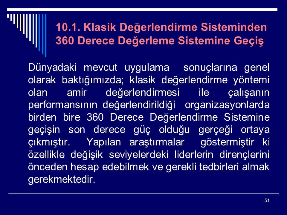 51 10.1. Klasik Değerlendirme Sisteminden 360 Derece Değerleme Sistemine Geçiş Dünyadaki mevcut uygulama sonuçlarına genel olarak baktığımızda; klasik