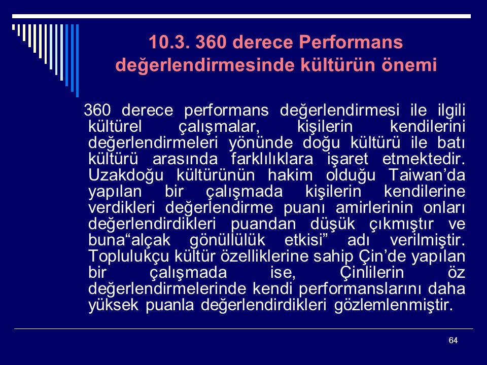 64 10.3. 360 derece Performans değerlendirmesinde kültürün önemi 360 derece performans değerlendirmesi ile ilgili kültürel çalışmalar, kişilerin kendi