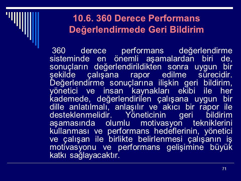 71 10.6. 360 Derece Performans Değerlendirmede Geri Bildirim 360 derece performans değerlendirme sisteminde en önemli aşamalardan biri de, sonuçların