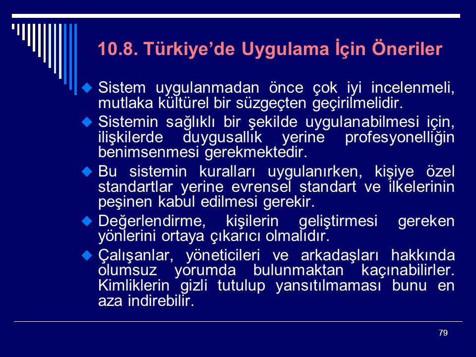79 10.8. Türkiye'de Uygulama İçin Öneriler  Sistem uygulanmadan önce çok iyi incelenmeli, mutlaka kültürel bir süzgeçten geçirilmelidir.  Sistemin s