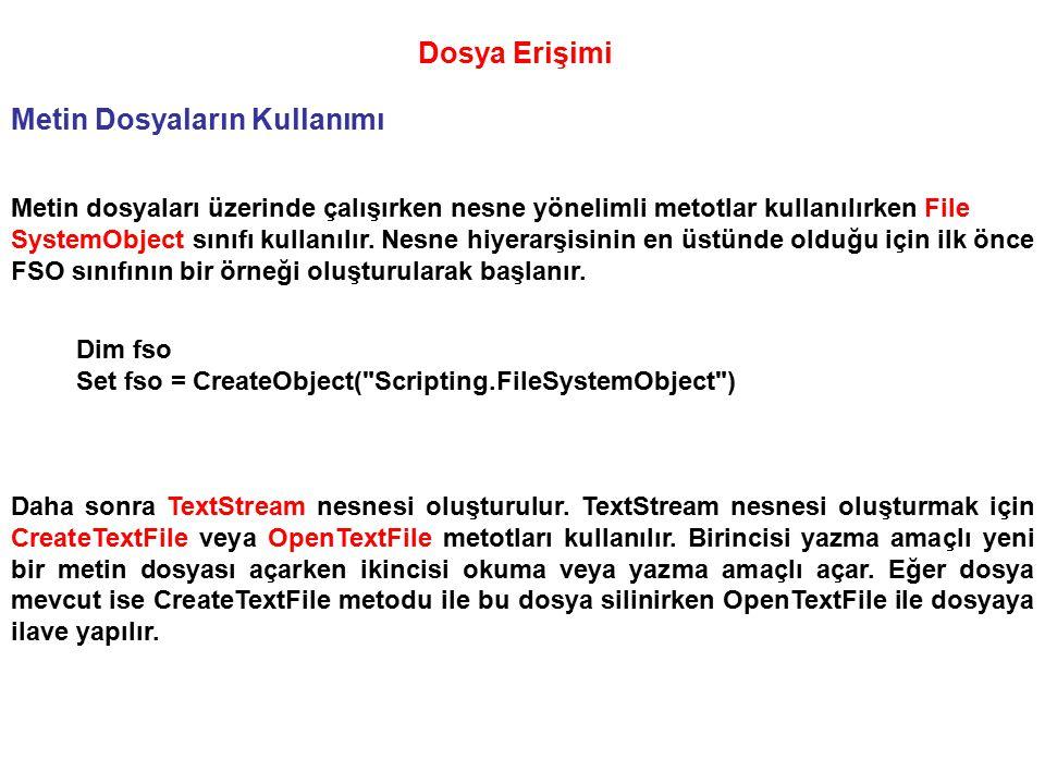 Dosya Erişimi Metin Dosyaların Kullanımı Metin dosyaları üzerinde çalışırken nesne yönelimli metotlar kullanılırken File SystemObject sınıfı kullanılı
