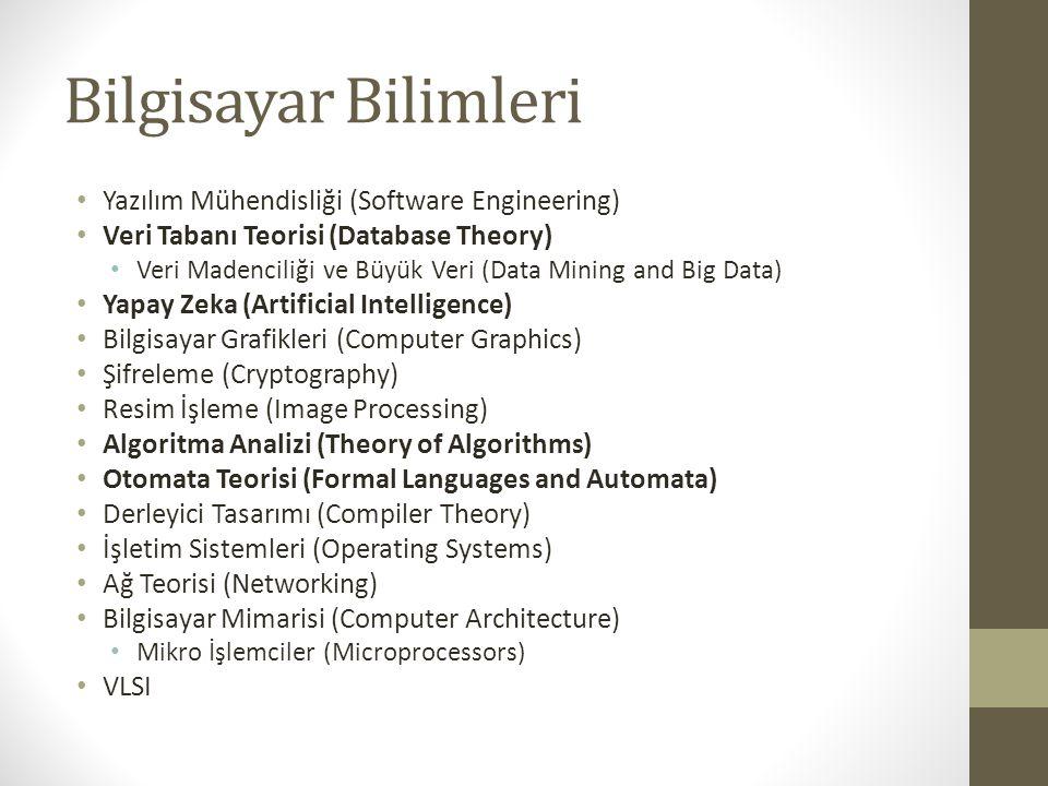 Bilgisayar Bilimleri Yazılım Mühendisliği (Software Engineering) Veri Tabanı Teorisi (Database Theory) Veri Madenciliği ve Büyük Veri (Data Mining and