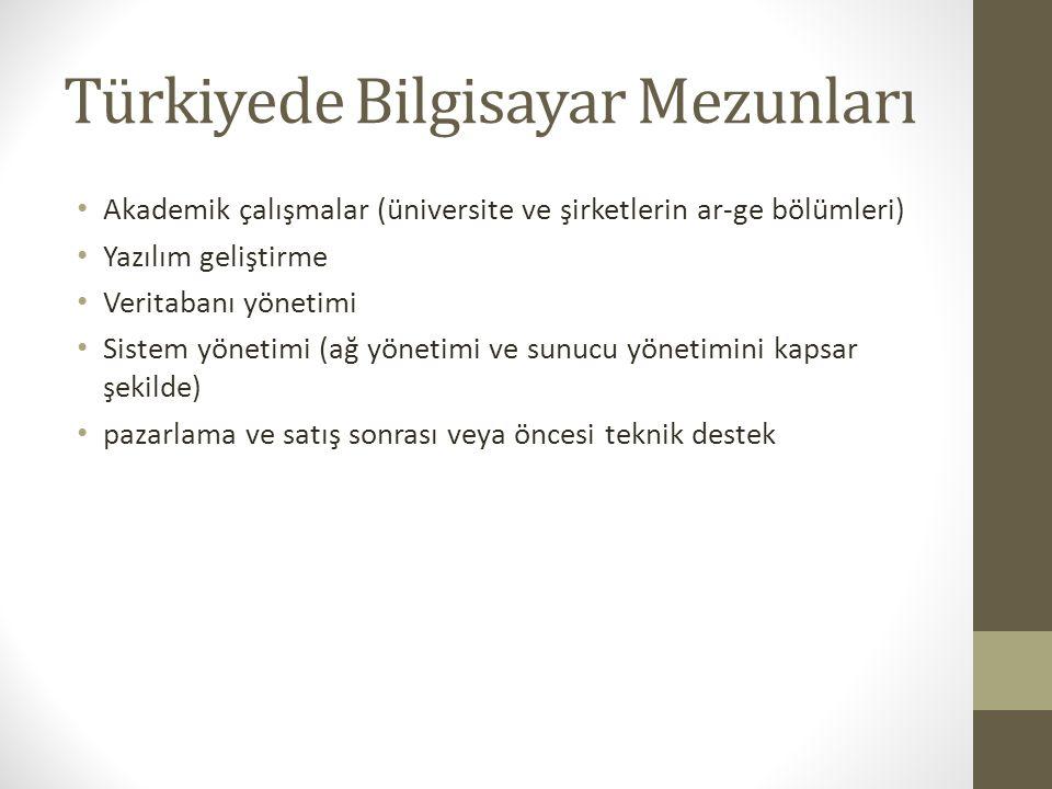Türkiyede Bilgisayar Mezunları Akademik çalışmalar (üniversite ve şirketlerin ar-ge bölümleri) Yazılım geliştirme Veritabanı yönetimi Sistem yönetimi