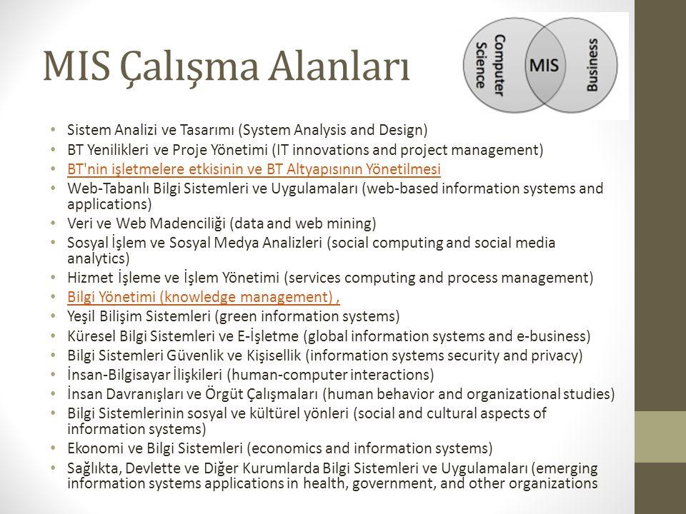 MIS Çalışma Alanları Sistem Analizi ve Tasarımı (System Analysis and Design) BT Yenilikleri ve Proje Yönetimi (IT innovations and project management)