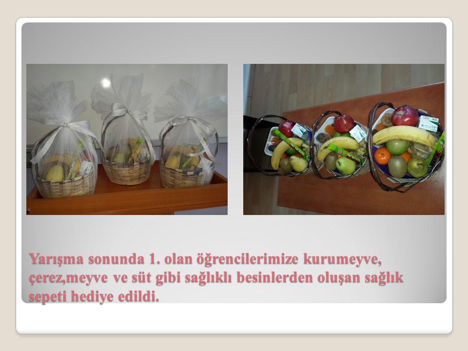 Yarışma sonunda 1. olan öğrencilerimize kurumeyve, çerez,meyve ve süt gibi sağlıklı besinlerden oluşan sağlık sepeti hediye edildi.